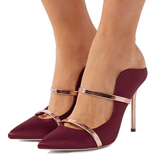 FSJ Women Fashion Pointy Toe Pumps High Heels Mule Sandals Double Straps Slide Shoes Size 12 Wine-Satin