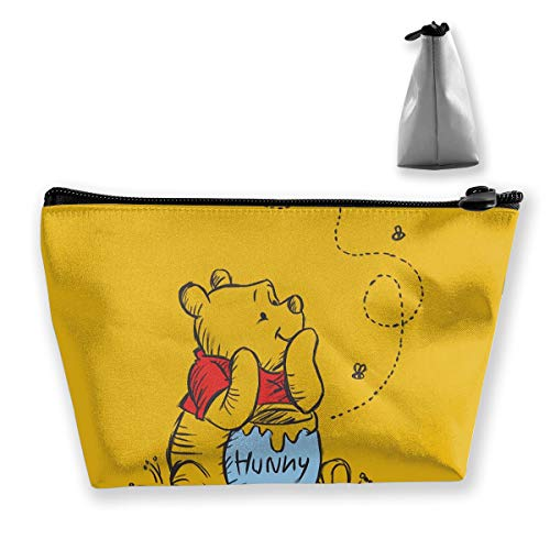 LSHOUNAI Travel Makeup Bag & Portable Storage Bag -Stylish Winnie The Pooh Multi-Functional Trapezoidal Storage Bag Travel Kit Organizer
