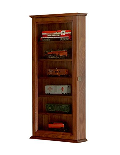 HO Scale Train Display Case Cabinet-Walnut Hardwood *Made in the USA* ()
