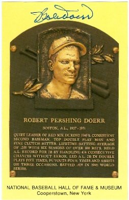(Autograph Warehouse 61981 Bobby Doerr Autographed Hall Of Fame Plaque Postcard Boston Red Sox 3.5X5.5 67)
