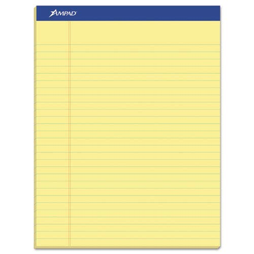 Perforated Writing Pad, 8 1/2 x 11 3/4, Canary, 50 Sheets (10 Dozens) by Ampad (Image #1)