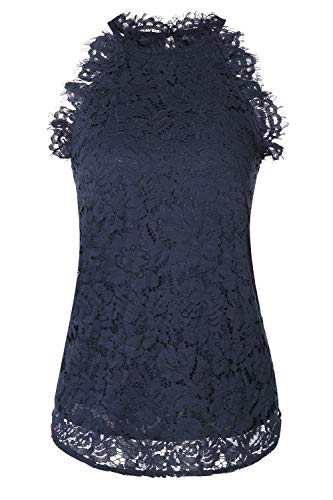 SUZEL Women's Sleeveless Halter Neck Lace Blouse Top with Lining (Navy with Matching Lining, Medium) ()