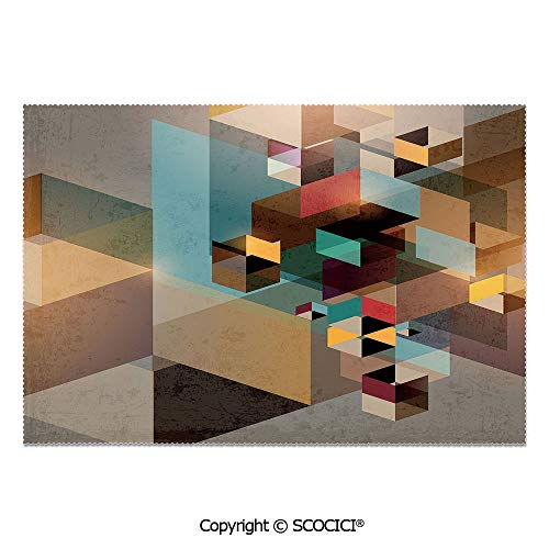 SCOCICI Set of 6 Heat Resistant Non-Slip Table Mats Placemats Colorful Structure in Pieces Modern Dynamic Graphic Design Industrial Artistic for Dining Kitchen Table Decor from SCOCICI