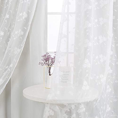 White Curtains Double Layers Room Darkening Curtains for Living Room 84 inch Reversible Ring Overlap Curtains with Embroidered White Sheer for Girls Bedroom Window Curtain Panels Grommet Top 2 - Sheer Double Layer