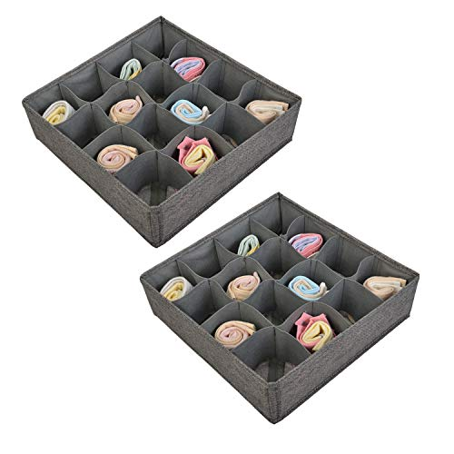 Polecasa Socks and Underwear Organizer - 16 Cells- 2 Pack - Durable Linen Fabric with Thick Cardboard. Drawer Divider Organizers for Socks, Panties, Ties and Lingerie. ()