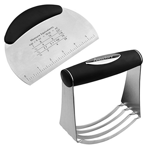 Annstory Stainless Steel Pastry Scraper Dough Blender Cutter Set - with Blades, Multipurpose Spatula- Pizza Dough Cutter - Chopper - Deluxe Baking Tools Equipment