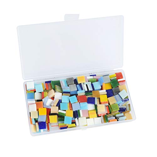WOWOSS 400pcs/300g Mosaic Tiles Mosaic Stained Glass Pieces with Organizing Container for Home Decoration DIY Arts & Craft (Square,10 by 10 mm) ()