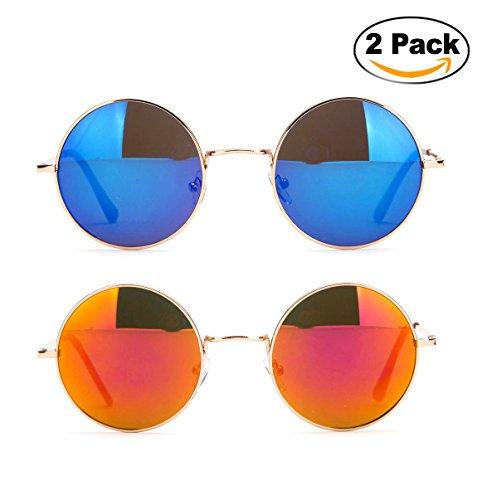 John Lennon Glasses Hippy 60's Vintage Retro Round Designer Inspired Walrus Style Sunglasses & Clear Lens Eye Glasses with Comfortable Spring - Celebs Sunglasses