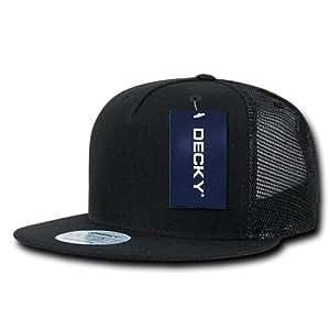 DECKY 5 Panel Flat Bill Trucker Cap Hats, Black