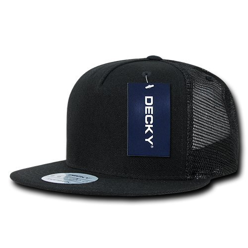 DECKY 5 Panel Flat Bill Trucker Cap Hats, - Black Trucker Snapback