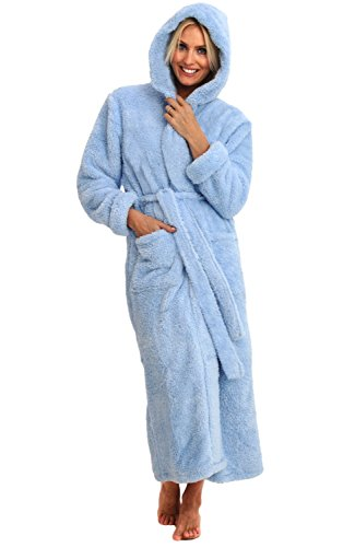Womens Fleece Robe, Long Plush Hooded Bathrobe, Small Medium Light Blue (A0304LBLMD) ()
