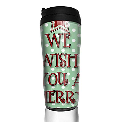 Custom Reusable Coffee Cup We Wish You A Merry Christmas Tumbler Vacuum-Insulated Travel Mug Hot Or Cold,12 Oz.with Lids -