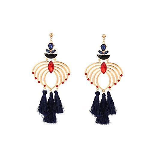 Teardrop Fringe Earrings (Ingemark Bohemian Multicolor Crystal Dangle Earring Tassel Blue Black Red Rhinestone Fringe Drop Earring)