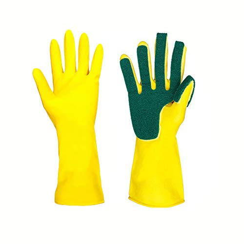 CTlite Cleaning Gloves, 1 Pair Reusable Waterproof Household Dishwashing Rubber Scrubber Gloves with Sponge Scrub Scouring Pads for Kitchen