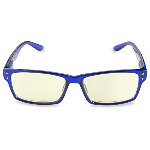 Inner Vision Eye Strain Relief Computer Screen Reading Glasses w/ Case - Anti Blue Light, Anti Glare, Scratch Resistant, & Spring Hinges - Unisex, (1.75 x Magnification), - Computer Cobalt