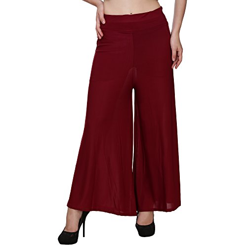 BuyNewTrend Maroon Ankle Length Lycra Palazzo For Women