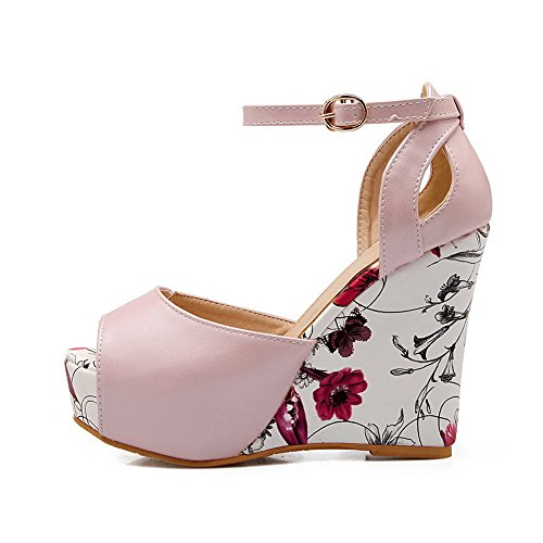 Farbe Schnalle Damen Peep Polyurethan Toe Pink 1TO9 Sandalen IStagnfqIw