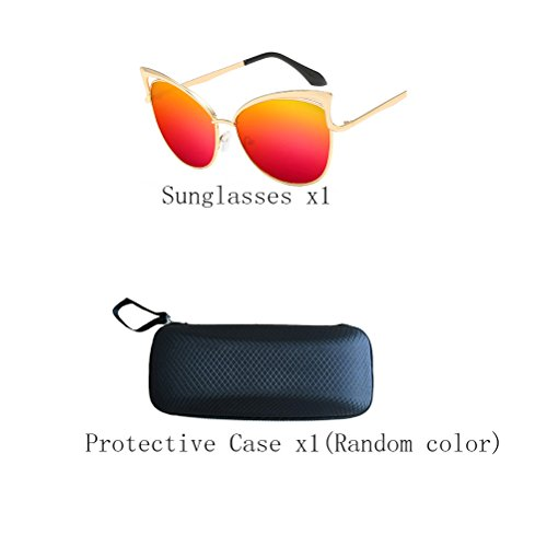Sunglasses Unisex Protection Mirror de UV400 Zhhyltt Women's Gold Red frame soleil Men's des lunettes IZxwqv8S