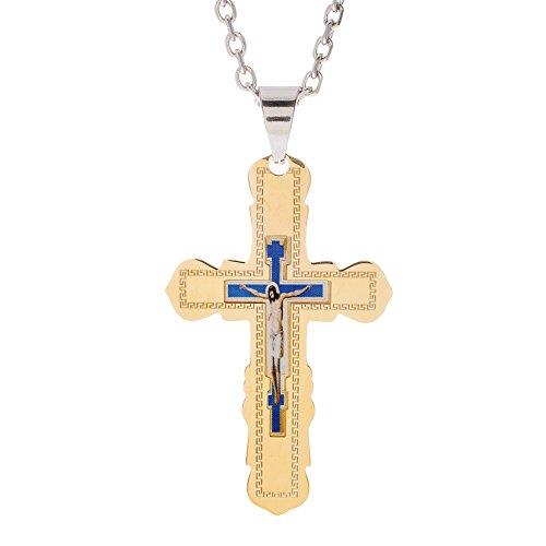 My Bible Men's Greek Key Jesus Portrait Scalloped Edge Crucifix Cross Pendant on 24