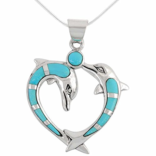 Double Dolphin Heart Necklace 925 Sterling Silver Genuine Turquoise Pendant with 18