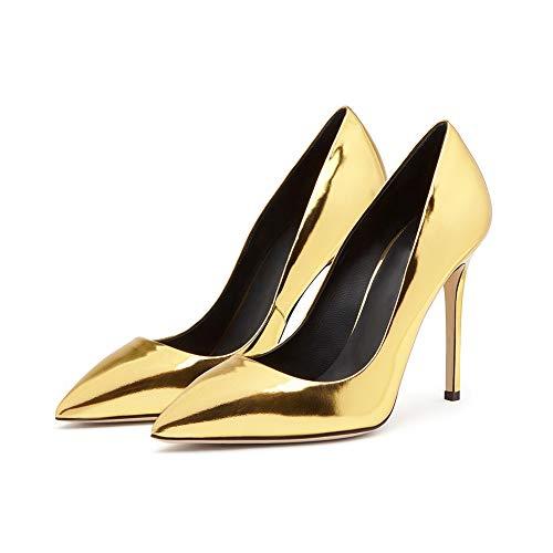Bout Soirée Pointé Brillant Simples Plate Étanche Femmes Chaussures De Robe Simples Mariée Gold Forme Chaussures Mariage Cuir Fermé Stiletto Zqxxd5