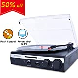 DIGITNOW Turntable Vinyl LP Record Player/Converter with Pitch Control,Tone Control/ PC Encoding/Recording, Aux in/Built-in Stereo Speakers,RCA Ouput,3.5mm Headphone Jack,digitizer LP with Win/mac
