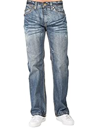 Men Relaxed Bootcut Premium Denim Jeans Whiskering Scratching