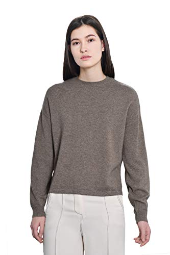 Goyo Cashmere Women's 100% Pure Cashmere Sweater - Dropped Shoulder Long Sleeve Pullover (Camel, L)