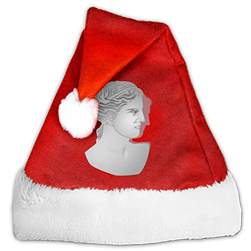 Christmas Santa Hats for Adults, Red White Traditional Santa Costume Aphrodite Bust Greek Goddess Love Beauty