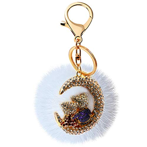 Uloveido Cute Purple Rhinestone Bears Moon Key Chains with Real Fur Ball Charm Decoration Accessory Women Bag Pendant Girl Gift Doll Keychain for Car Key Ring Handbag Tote Bag YS851 (Purple) from Uloveido