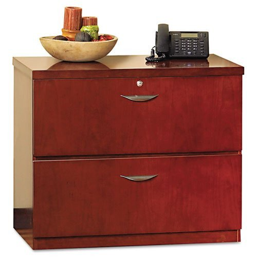 ioneyes mlf23624mc mira series wood veneer two-drawer lateral file, 34.5 by 24 (Elegant Cherry Wood Finish Series)
