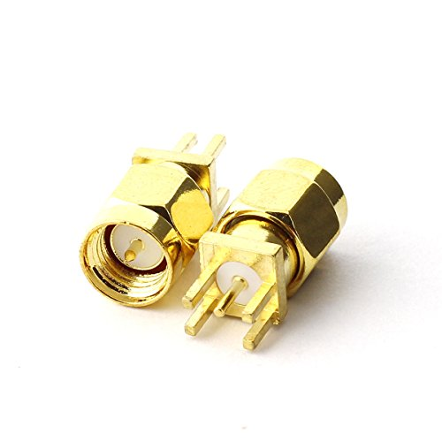 Maxmoral 5PCS SMA Male PCB Panel Edge Mount Plug with 4 Pins Stand Straight Connector RF Coax Coaxial Adapter