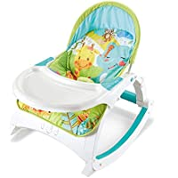 Deluxe Baby Infant Rocker Bouncer Newborn Toddler Rocker Vibration & Music & Feeding Tray 3 in 1(Green & Blue)