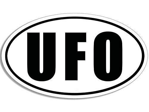 MAGNET 3x5 inch B/W Oval UFO Sticker (Alien) Magnetic vinyl bumper sticker sticks to any metal fridge, car, signs