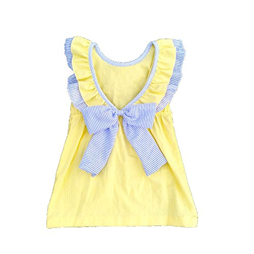 (MONOBLANKS Girls Dress Backless Sash Bow Cotton Summer Skirt Can be Personalized Or Monogrammed (12/18m, Yellow))