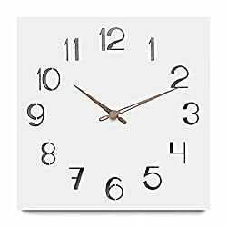 FlorLife 12 inch Morden Walnut Wall Clock Silent &Non-Ticking Quartz Square Decorative Clock AA Battery Operated, for Living Room/Kicken/Office/School, Large Metal Mirror Numerals