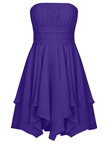 Indigo Satin Bridesmaid Dress (Fllbridal Women's Strapless A-Line Party Short Prom Dress With Lace UP Back Indigo)