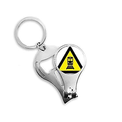 Advertencia símbolo amarillo negro tren triángulo Cortauñas ...