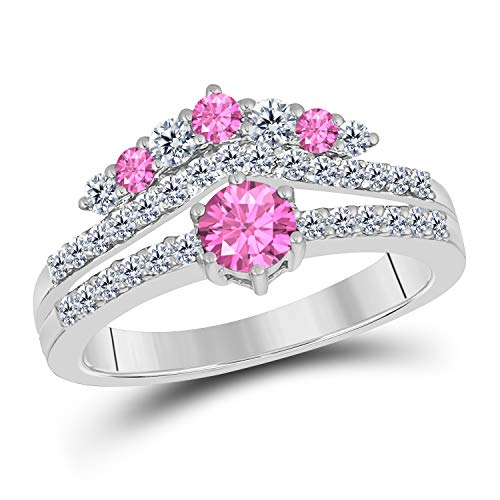 (DreamJewels 1.50 Ct Round Cut Created Pink Sapphire 14K White Gold Finish Sterling Silver Multistone Crown Style Engagement Ring for Women's)