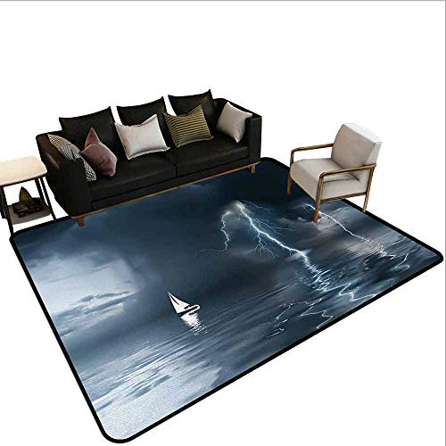 AlEASYHOME Play Rugs for Kids Rooms, Yacht at The Ocean Comes Nearer a Thunderstorm with Rain and Lightning Art Print, 19.5