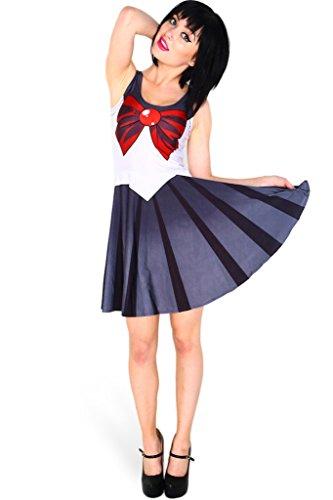 [Ninimour- Halloween Digital Print Sailor Moon Classic Skater Dress Clubwear] (Chibi Halloween Costume)