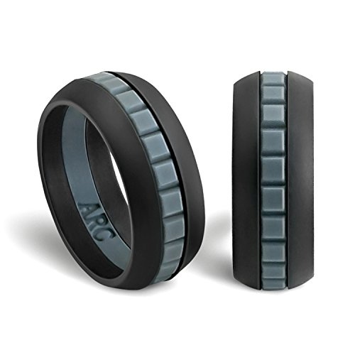 Arc Rings - Silicone Engagement Ring (Black/Gray/Black, 12)