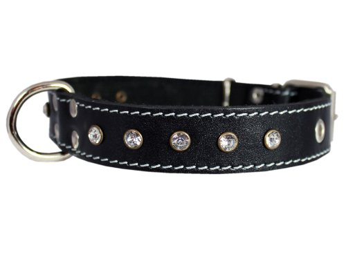 Genuine Black Leather Rhinestone Dog Collar 1
