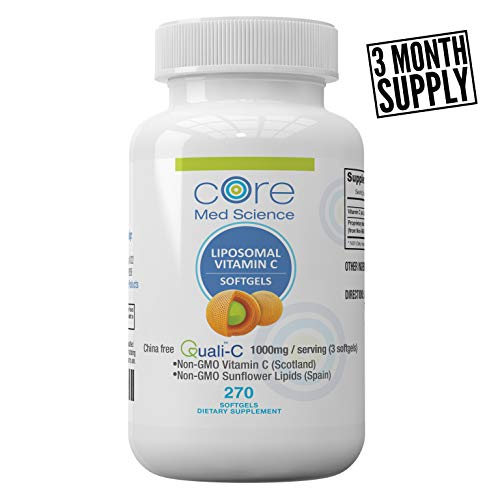 Optimized Liposomal Vitamin C SOFTGELS 1000mg/dose (3 Months) | Quali®-C Scottish Ascorbic Acid | China-Free | High Absorption Immune System Support & Collagen Booster Supplement | Non-GMO | No Soy |