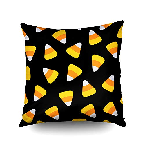 ROOLAYS Decorative Throw Square Pillow Case Cover 18X18Inch,Cotton Cushion Covers Halloween Candy Corn Happy Halloween Pattern Both Sides Printing Invisible Zipper Home Sofa Decor -