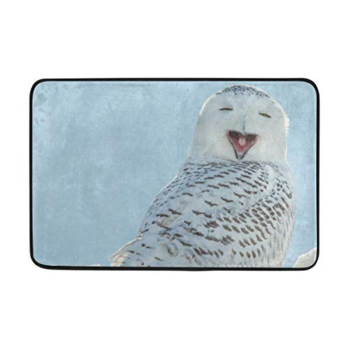 - Ladninag BathMat Snowy Owl Yawning Doormat Indoor Outdoor Entrance Floor Welcome Mats Bathroom Rug