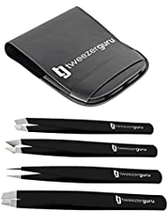Tweezers Set 4-piece - TweezerGuru Stainless Steel Slant...