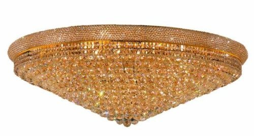 - Elegant Lighting Value Primo Collection Flush Mount D:48in H:16in Lt:33 Gold Finish (Swarovski Elements Crystals) Gold