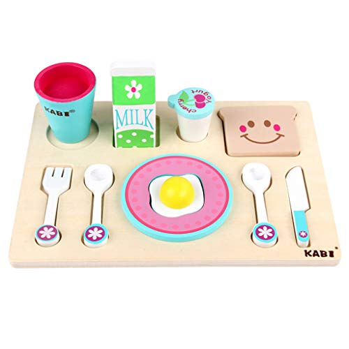 Elaco Kids Wooden Breakfast Set Pretend Play Cooking Playset Toddler Wood Food Toys Children's Simulation Kitchen Toy Breakfast Paired Wooden Toy Set from Elaco1