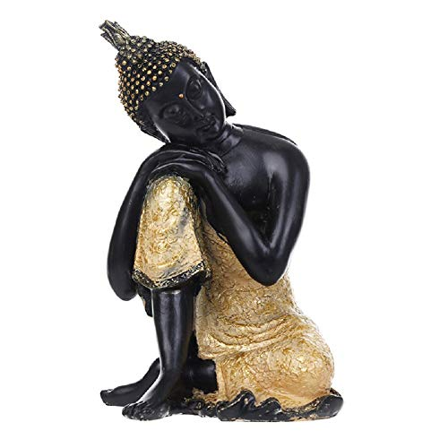 Funnuf Indian Buddha Statue Gold Resin Home Decor Housewarming Gift with Golden Robe, 7.8 Inch, Snapping on Right Kneel